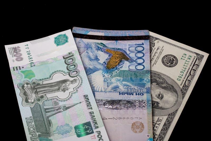 坦格、哈萨克斯坦、俄罗斯卢布和美元、美国 汇率 银行、世界经济、危机、金融 图库摄影