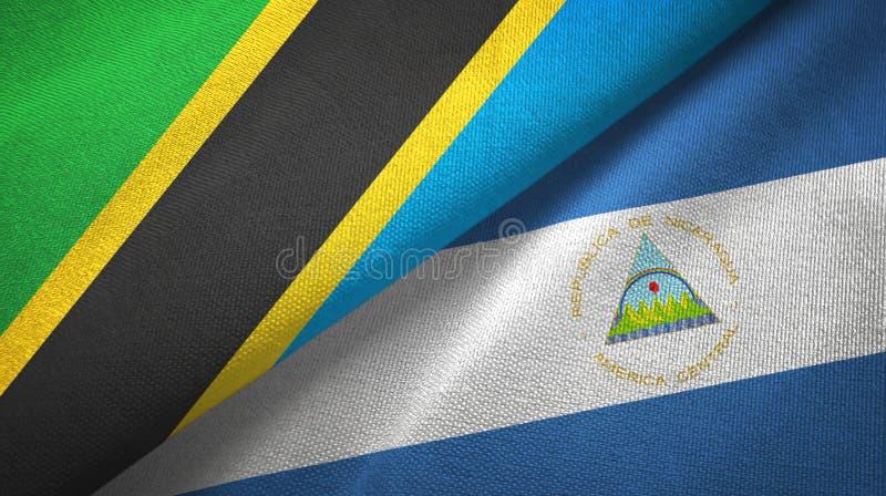 坦桑尼亚和尼加拉瓜两旗子纺织品布料,织品纹理 向量例证
