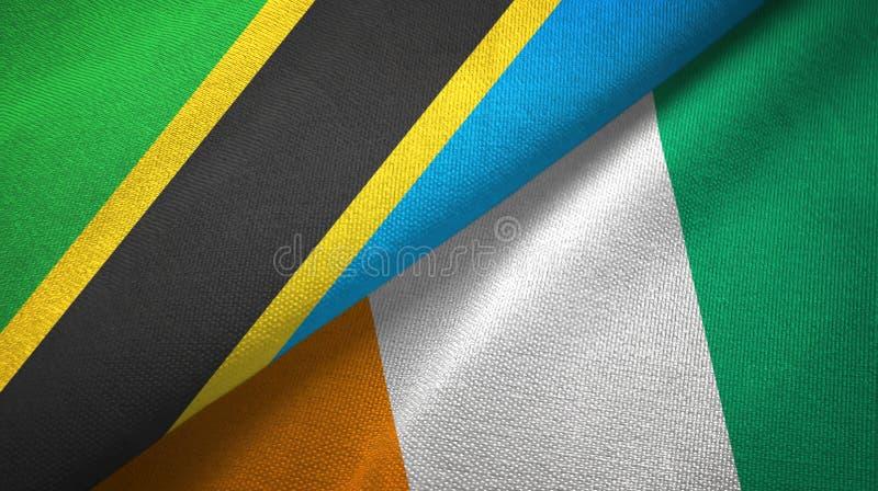 坦桑尼亚和科特迪瓦象牙海岸两旗子织物纹理 库存例证