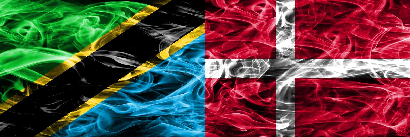 坦桑尼亚对丹麦,肩并肩被安置的丹麦烟旗子 坦桑尼亚和丹麦的厚实的色的柔滑的烟旗子,丹麦语 向量例证