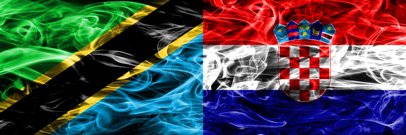 坦桑尼亚对克罗地亚,肩并肩被安置的克罗地亚烟旗子 坦桑尼亚和克罗地亚,克罗地亚人的厚实的色的柔滑的烟旗子 库存例证