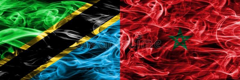 坦桑尼亚对摩洛哥,肩并肩被安置的摩洛哥烟旗子 坦桑尼亚和摩洛哥,摩洛哥人的厚实的色的柔滑的烟旗子 向量例证