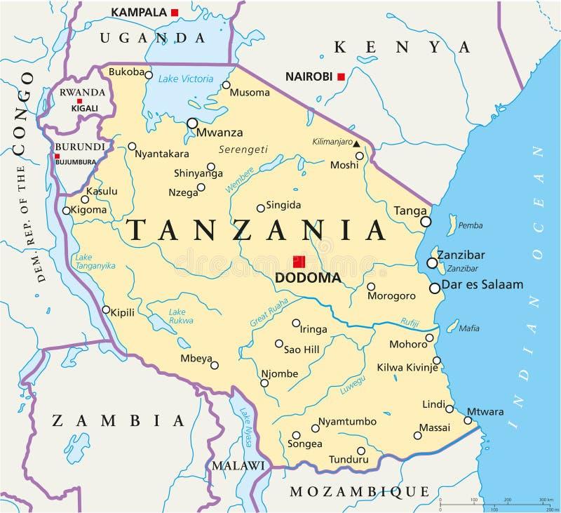 坦桑尼亚政治地图
