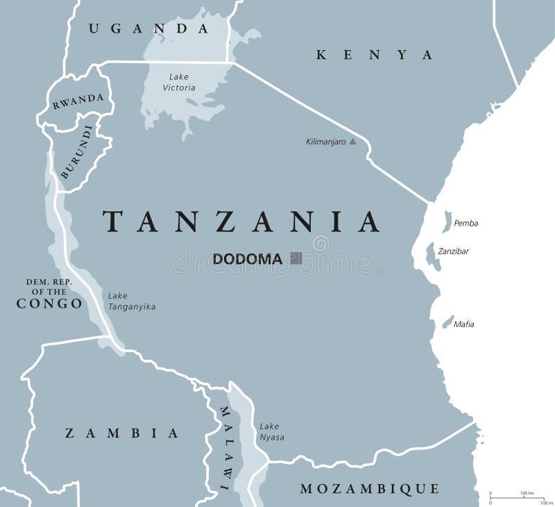 坦桑尼亚政治地图 库存例证