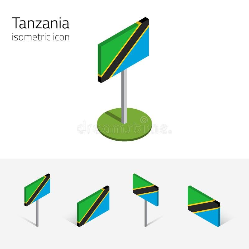 坦桑尼亚旗子, 3D等量平的象传染媒介套  向量例证
