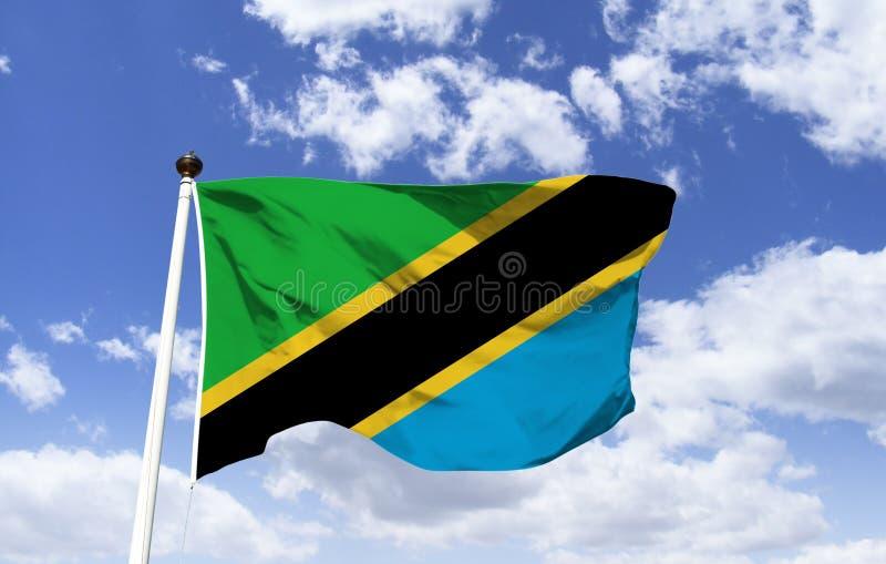 坦桑尼亚的旗子大模型,振翼在天空蔚蓝下 库存图片