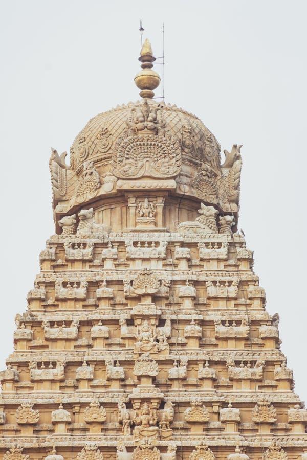坦贾武尔大寺庙塔接近的视图秀丽  免版税库存图片