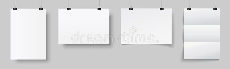 垂悬与阴影的四张空白的海报 在黏合剂的白色垂悬的白皮书 A4纸页,大模型,在墙壁-传染媒介上的板料 皇族释放例证