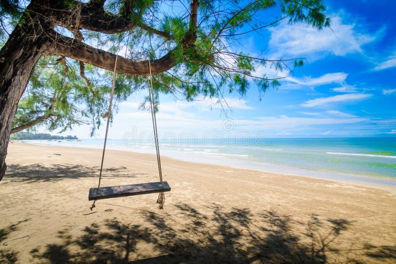 垂悬从在海滩的一棵树的木摇摆 一个热带海滩在泰国的南部在好日子 免版税库存图片