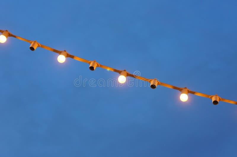 垂悬从屋顶的卤素电灯泡到树 它  图库摄影