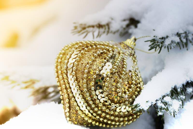 以垂悬在一个云杉的分支的球的形式圣诞节玩具 库存图片