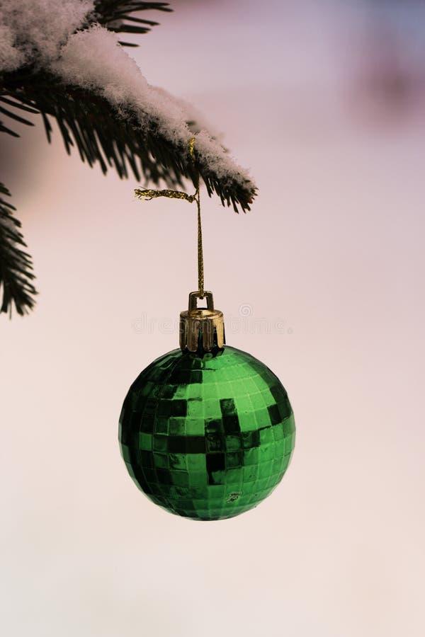 以垂悬在一个云杉的分支的球的形式圣诞节玩具 库存照片