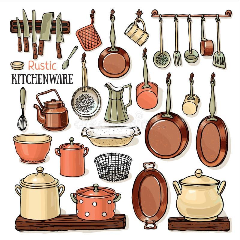 垂悬在一个减速火箭的厨房里的许多平底锅 向量例证
