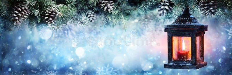 垂悬在冷杉分支的圣诞节灯笼 库存照片