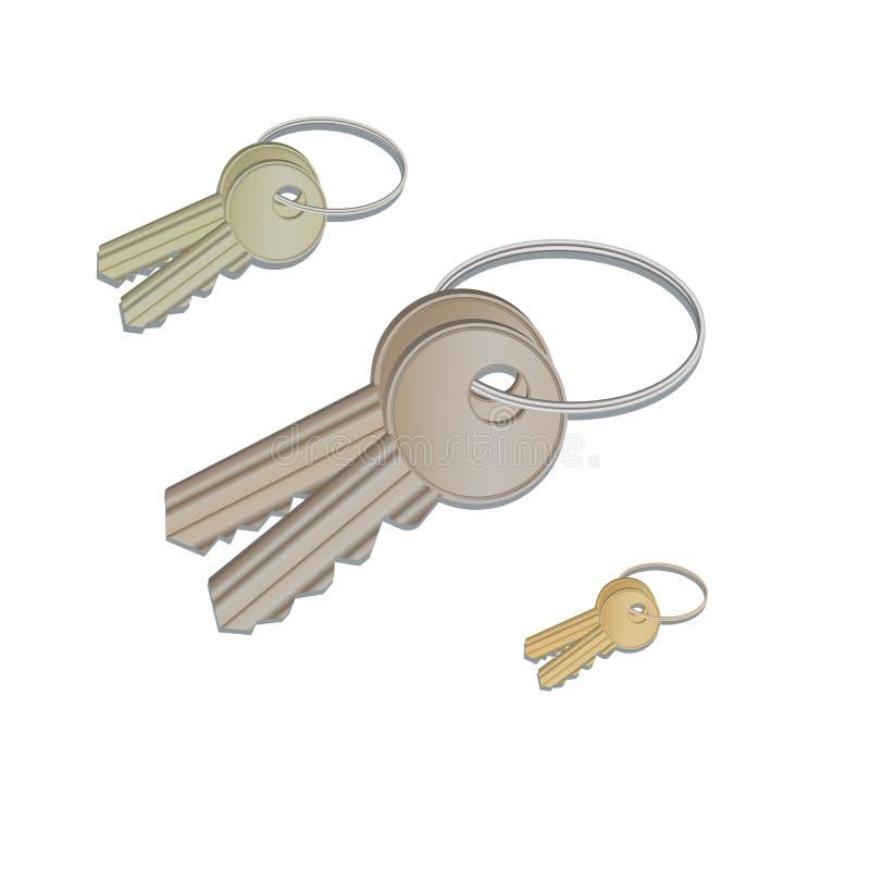 垂悬在圆环的设置现实钥匙隔绝在白色背景,现代象,束与keychain的房子钥匙 库存例证