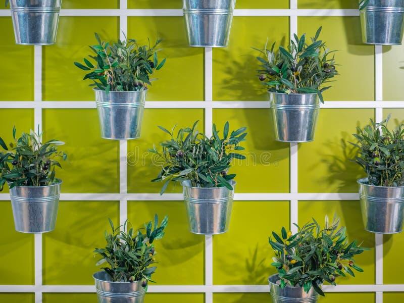 垂悬在墙壁上的人为五颜六色的花盆 免版税库存照片