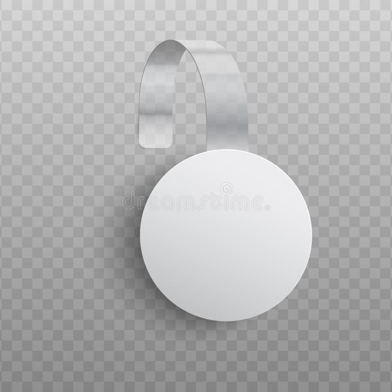 垂悬在墙壁上的圆形现实习惯增进广告的晃摇物的传染媒介例证 库存例证