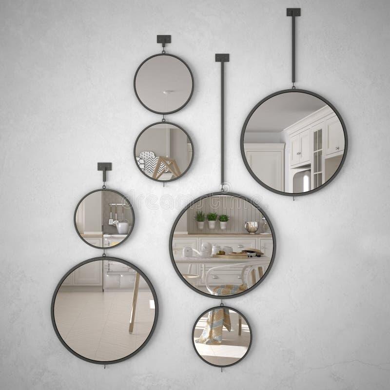 垂悬在墙壁上的圆的镜子反射室内设计场面,斯堪的纳维亚白色厨房,现代 库存例证