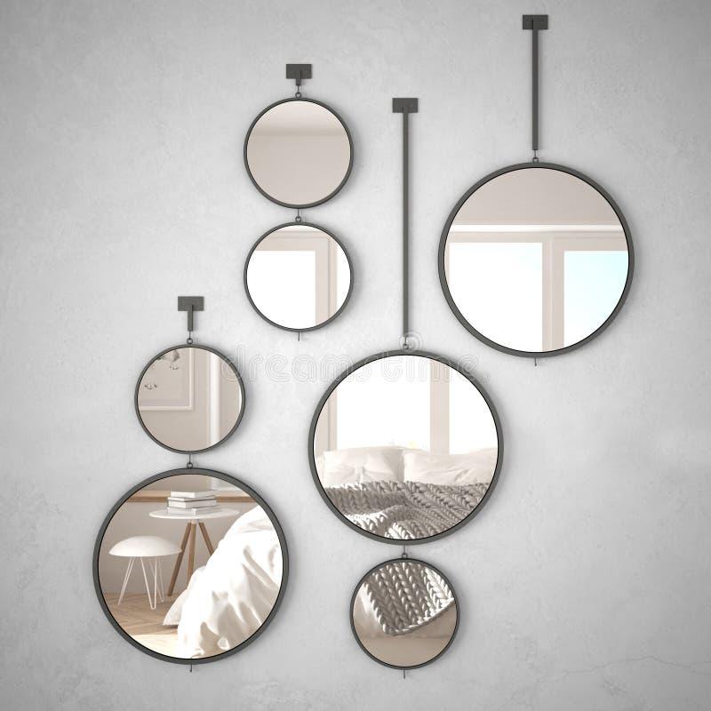 垂悬在墙壁上的圆的镜子反射室内设计场面,最低纲领派斯堪的纳维亚卧室,现代建筑学概念 向量例证