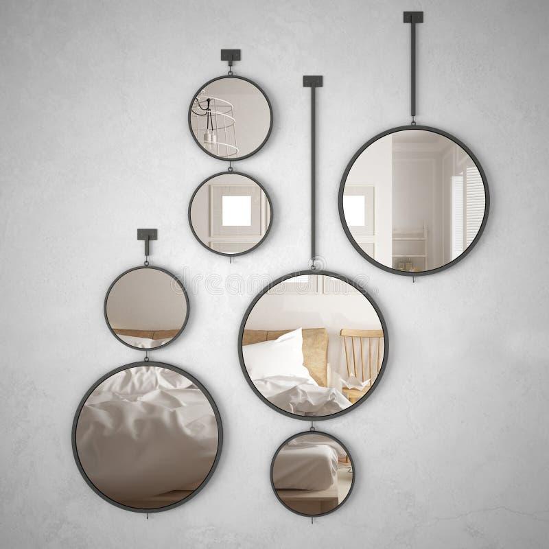 垂悬在墙壁上的圆的镜子反射室内设计场面,最低纲领派斯堪的纳维亚卧室,现代 皇族释放例证