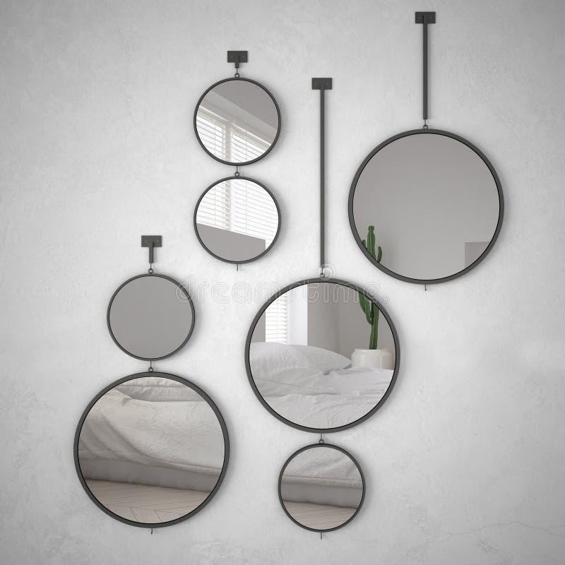 垂悬在墙壁上的圆的镜子反射室内设计场面,最低纲领派白色卧室,现代 向量例证