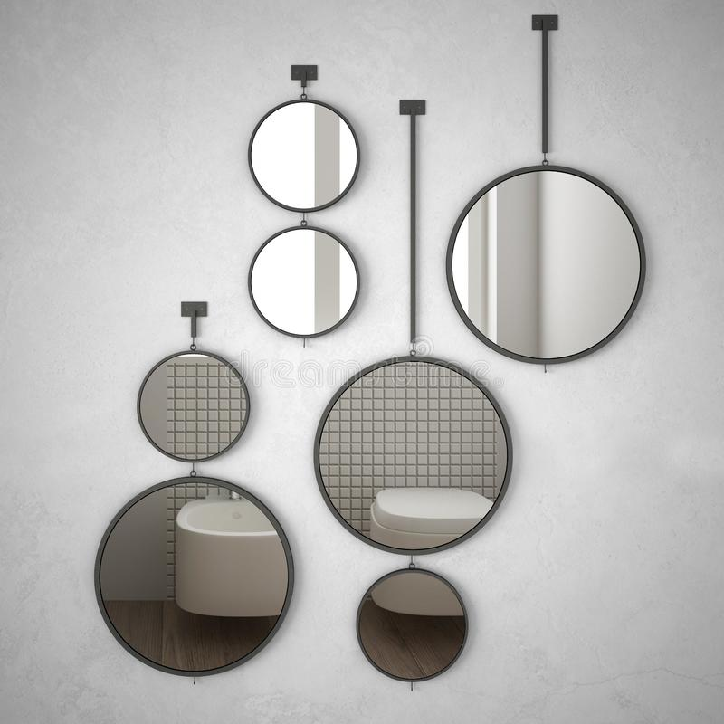 垂悬在墙壁上的圆的镜子反射室内设计场面,最低纲领派白色卫生间,现代建筑学概念想法 向量例证