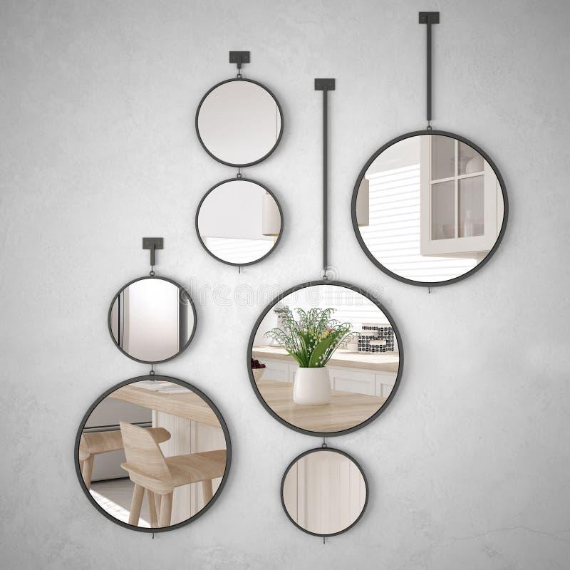 垂悬在墙壁上的圆的镜子反射室内设计场面,最低纲领派白色厨房,现代建筑学 向量例证