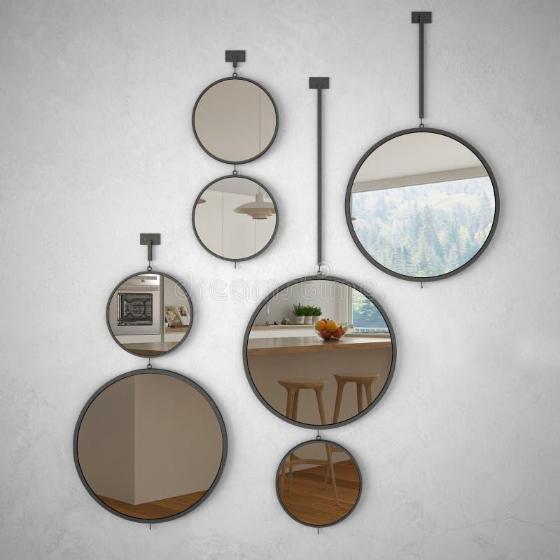 垂悬在墙壁上的圆的镜子反射室内设计场面,最低纲领派白色厨房,现代 向量例证