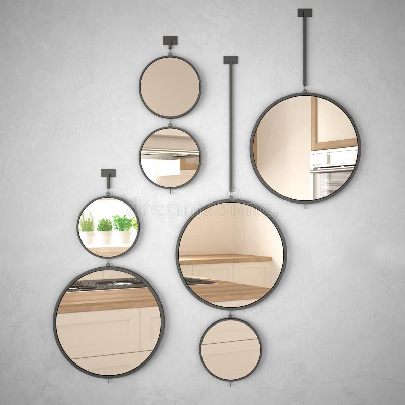 垂悬在墙壁上的圆的镜子反射室内设计场面,最低纲领派白色和木厨房,现代建筑学 库存例证
