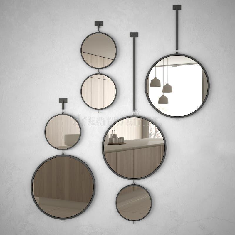 垂悬在墙壁上的圆的镜子反射室内设计场面,最低纲领派白色和木厨房,现代建筑学 皇族释放例证