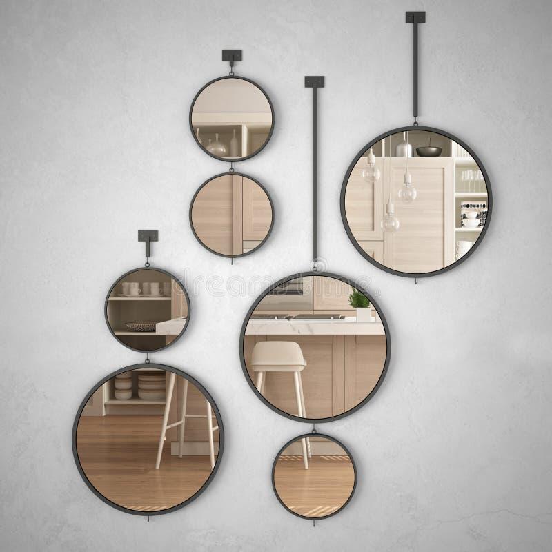垂悬在墙壁上的圆的镜子反射室内设计场面,最低纲领派白色和木厨房,现代建筑学 向量例证