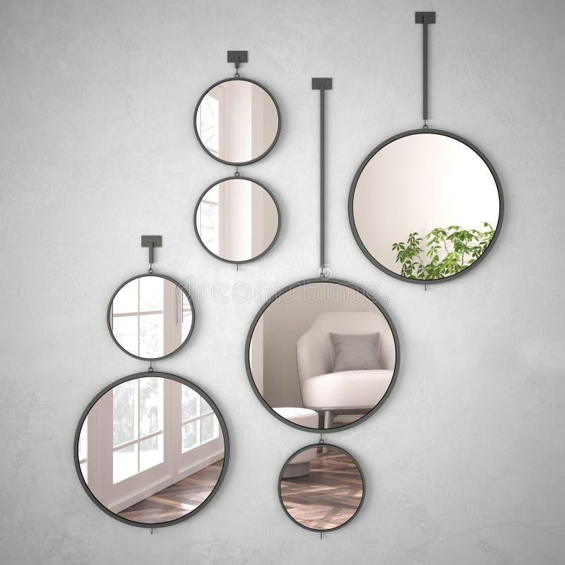 垂悬在墙壁上的圆的镜子反射室内设计场面,最低纲领派白色生活,现代建筑学概念想法 皇族释放例证