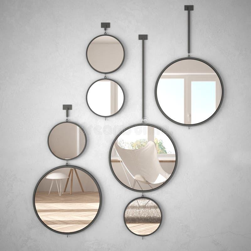 垂悬在墙壁上的圆的镜子反射室内设计场面,最低纲领派白色生活,现代建筑学概念想法 库存例证
