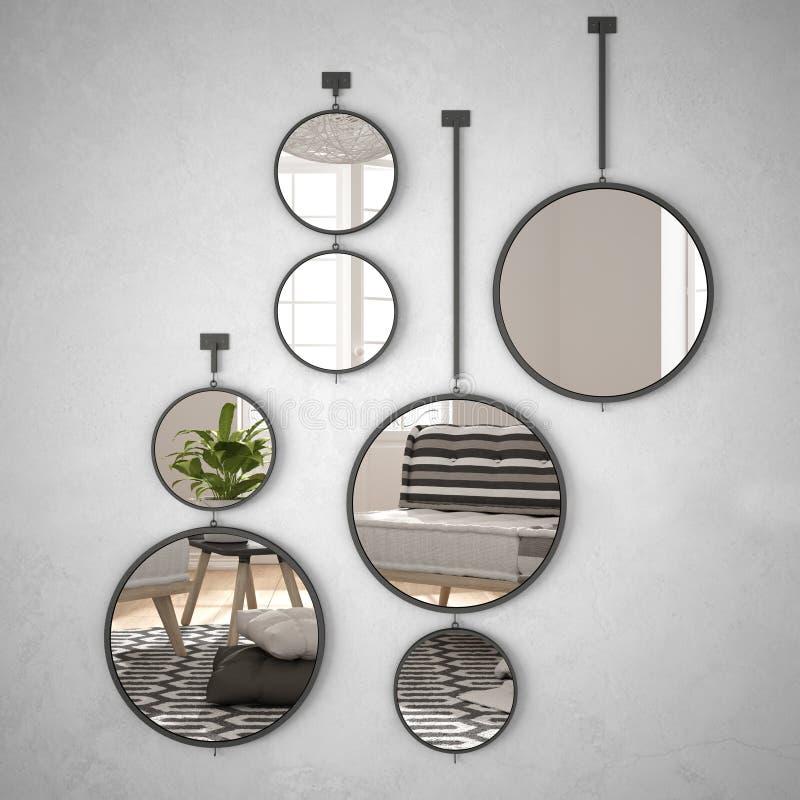 垂悬在墙壁上的圆的镜子反射室内设计场面,最低纲领派白色生活,现代建筑学概念想法 向量例证