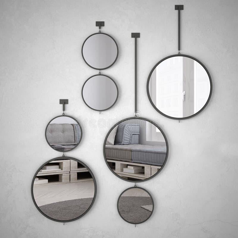 垂悬在墙壁上的圆的镜子反射室内设计场面,最低纲领派白色生活,现代 皇族释放例证