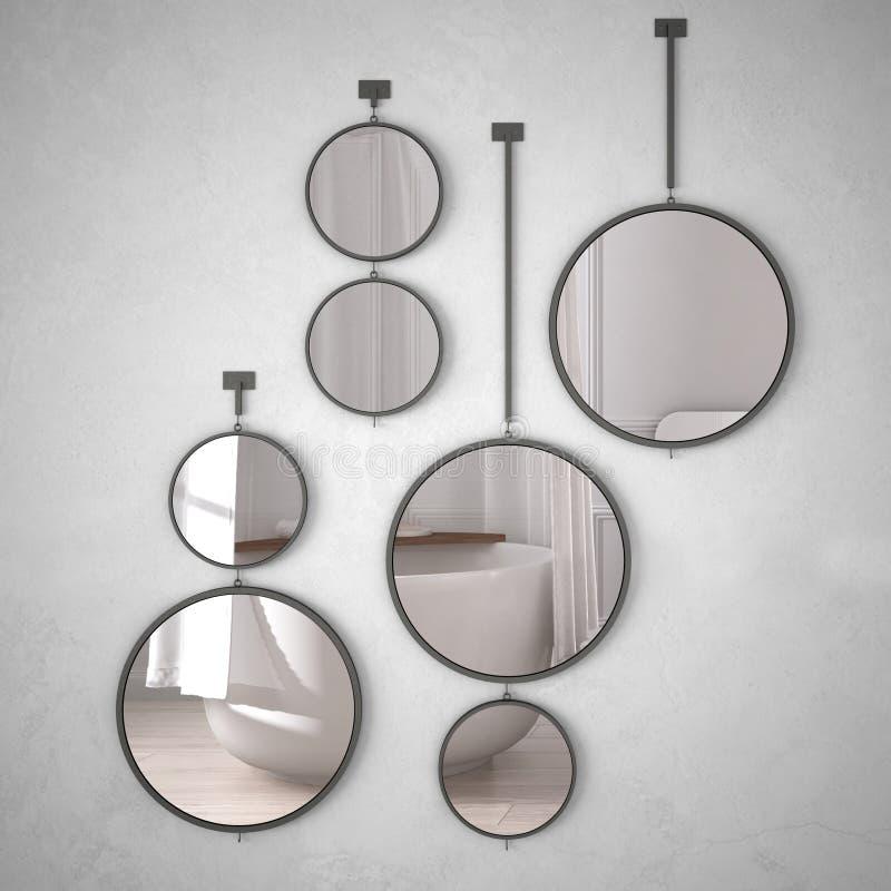 垂悬在墙壁上的圆的镜子反射室内设计场面,最低纲领派经典卫生间,现代建筑学概念想法 向量例证