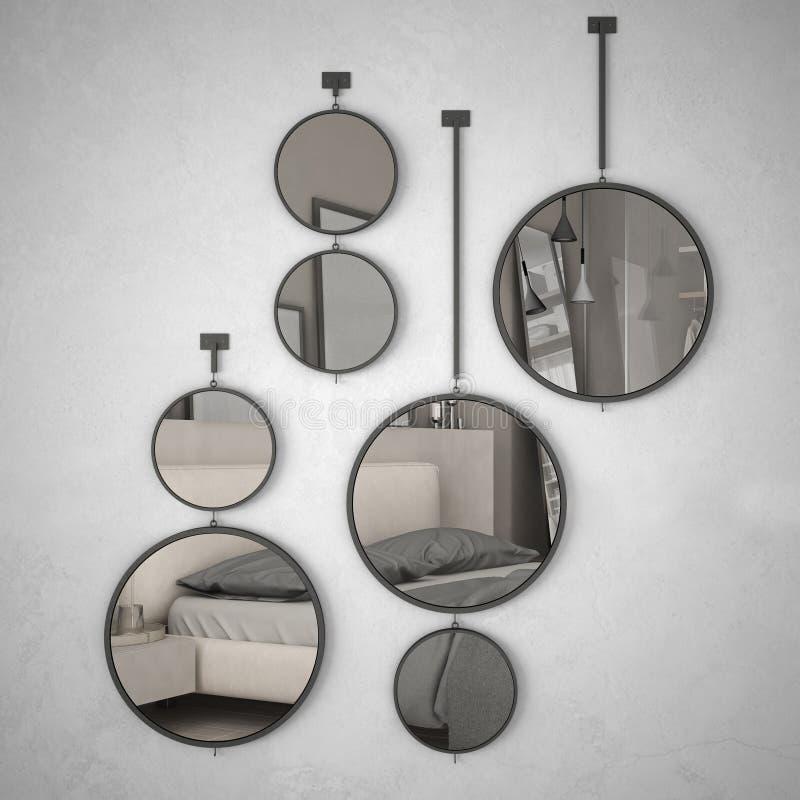 垂悬在墙壁上的圆的镜子反射室内设计场面,最低纲领派舒适卧室,现代 库存例证