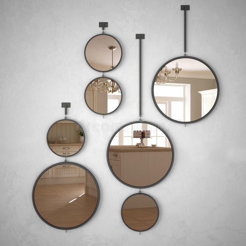 垂悬在墙壁上的圆的镜子反射室内设计场面,经典白色厨房,现代 向量例证