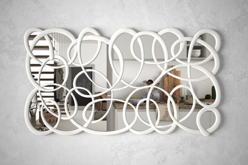 垂悬在墙壁上的现代扭转的形状镜子反射室内设计场面,明亮的白色厨房,最低纲领派白色 向量例证