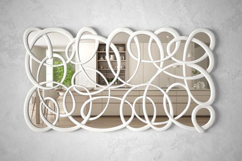 垂悬在墙壁上的现代扭转的形状镜子反射室内设计场面,明亮的白色和木厨房,最低纲领派 库存例证