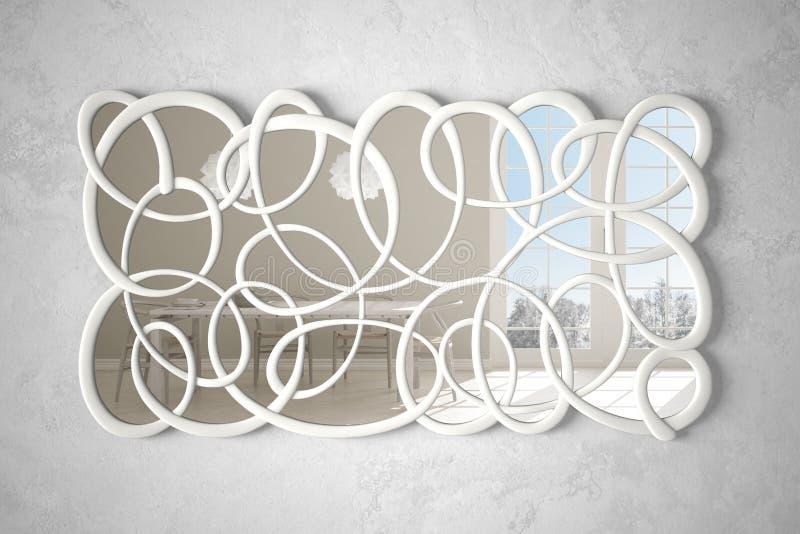 垂悬在墙壁上的现代扭转的形状镜子反射室内设计场面,明亮的白色和木厨房,最低纲领派 向量例证