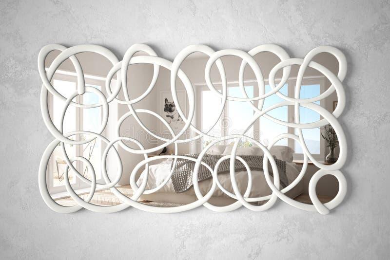 垂悬在墙壁上的现代扭转的形状镜子反射室内设计场面,有双人床的,最低纲领派白色明亮的卧室 向量例证