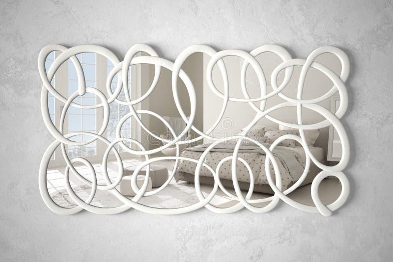 垂悬在墙壁上的现代扭转的形状镜子反射室内设计场面,有双人床的,最低纲领派白色明亮的卧室 皇族释放例证