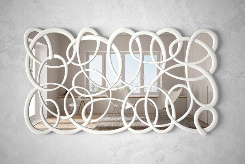 垂悬在墙壁上的现代扭转的形状镜子反射室内设计场面,有扶手椅子的,最低纲领派明亮的客厅 皇族释放例证