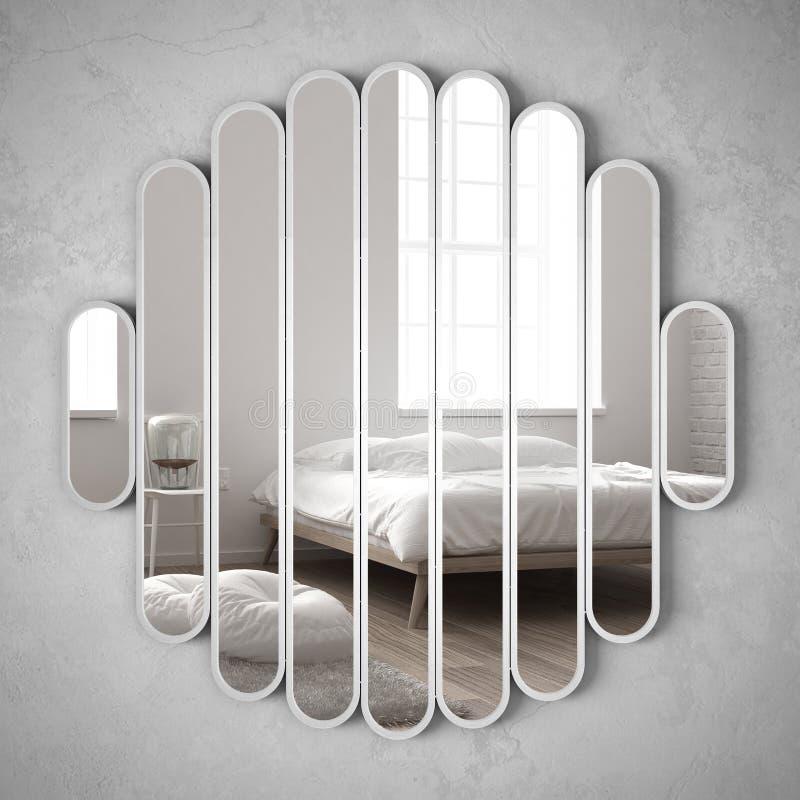 垂悬在墙壁上的现代镜子反射室内设计场面、明亮的卧室有床的,椅子和台灯,最低纲领派丝毫 免版税图库摄影