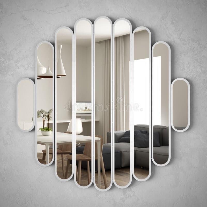 垂悬在墙壁上的现代镜子反射室内设计场面,明亮的客厅,最低纲领派白色建筑学,建筑师 向量例证