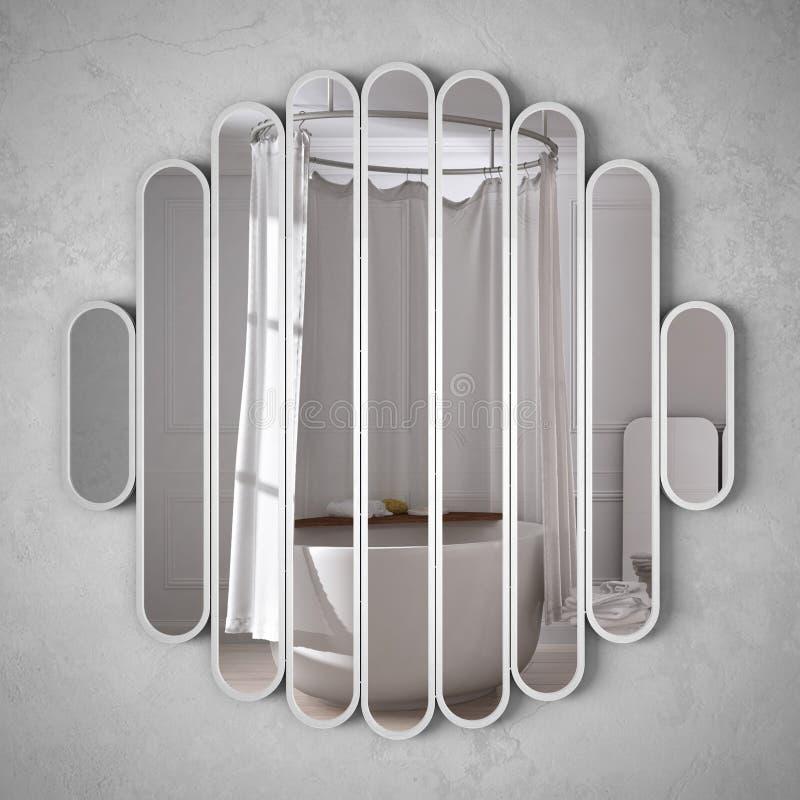 垂悬在墙壁上的现代镜子反射室内设计场面,明亮的白色卫生间,最低纲领派白色建筑学, 向量例证