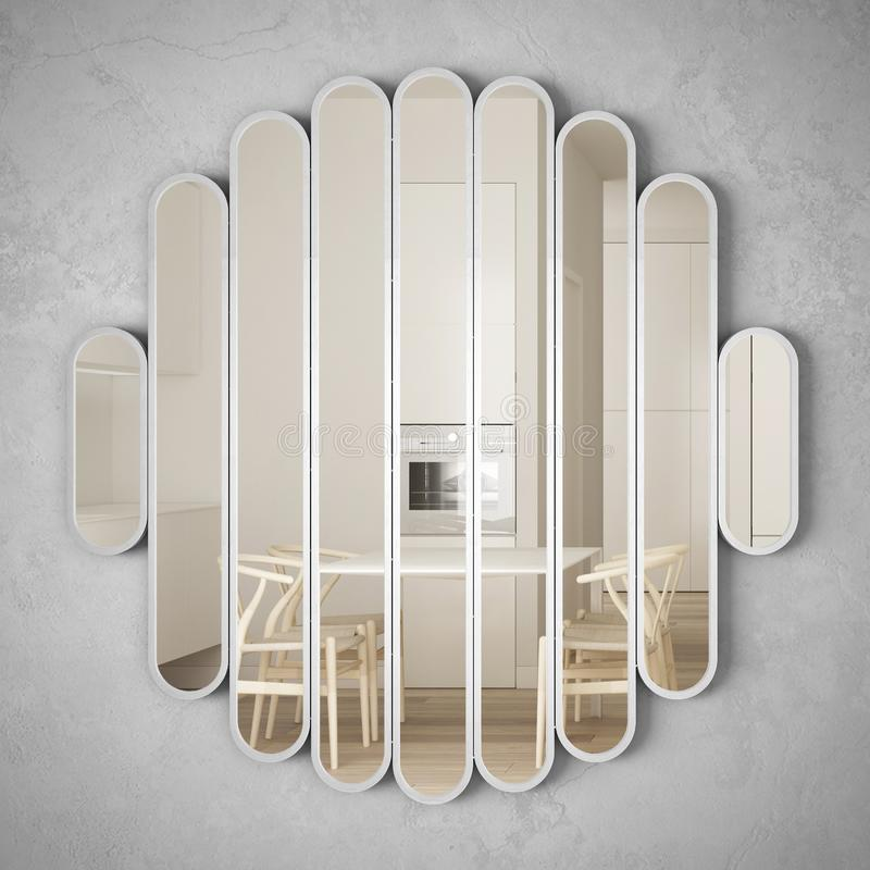 垂悬在墙壁上的现代镜子反射室内设计场面,明亮的白色和木厨房,最低纲领派白色建筑学 皇族释放例证