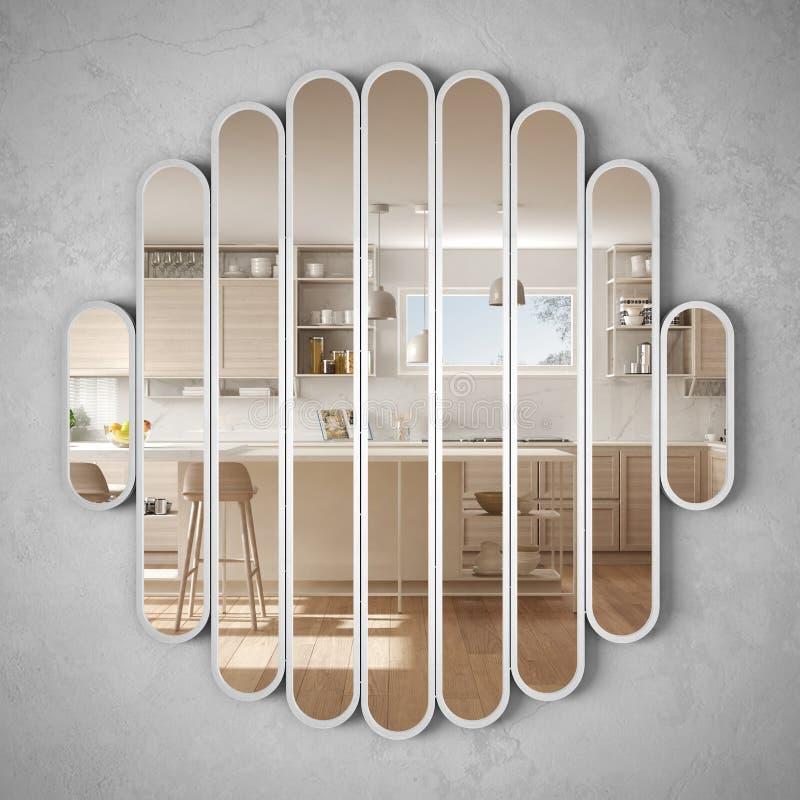 垂悬在墙壁上的现代镜子反射室内设计场面,明亮的白色和木厨房,最低纲领派白色建筑学 库存例证