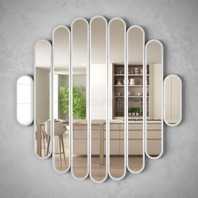 垂悬在墙壁上的现代镜子反射室内设计场面,明亮的白色和木厨房,最低纲领派白色建筑学 向量例证